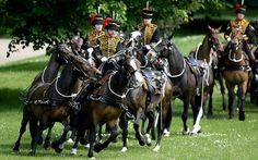 The King's Troop, Royal Horse Artillery arrive to fire a 41-gun salute in Green Park.  Picture: DAN KITWOOD/GETTY IMAGES