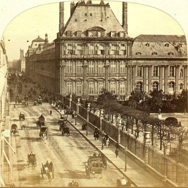La rue de Rivoli, le Pavillon de Marsan et le palais des Tuileries, incendié en 1871. Une photo de Lamy, vers 1864-1865  (Paris 1e/4e)