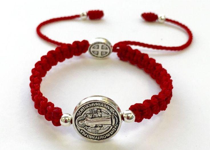 Pulsera de La Medalla de San Benito Para BEBE Color Roja Hecha A Mano | eBay