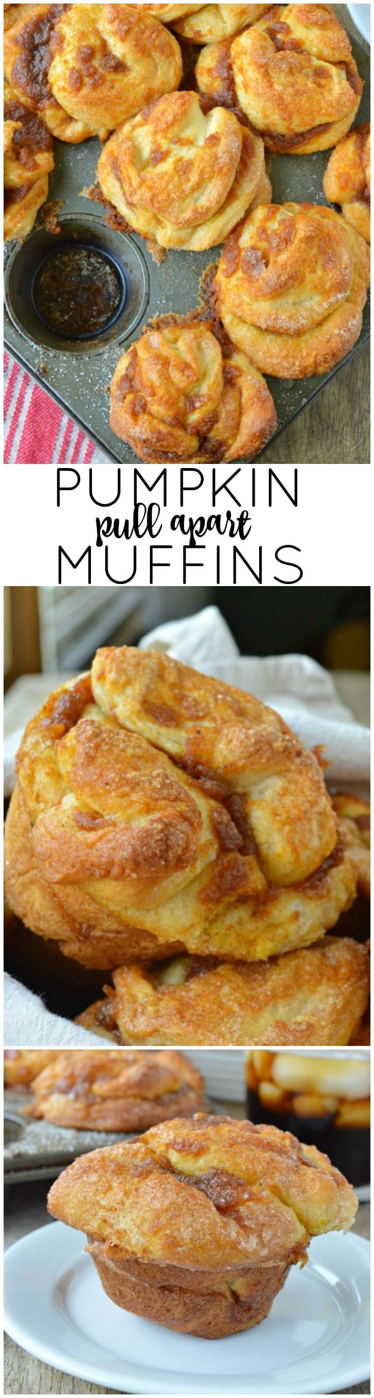 These Pumpkin Pull Apart Muffins are crazy easy. Like a mini version of monkey bread -- they start with refrigerated biscuits!