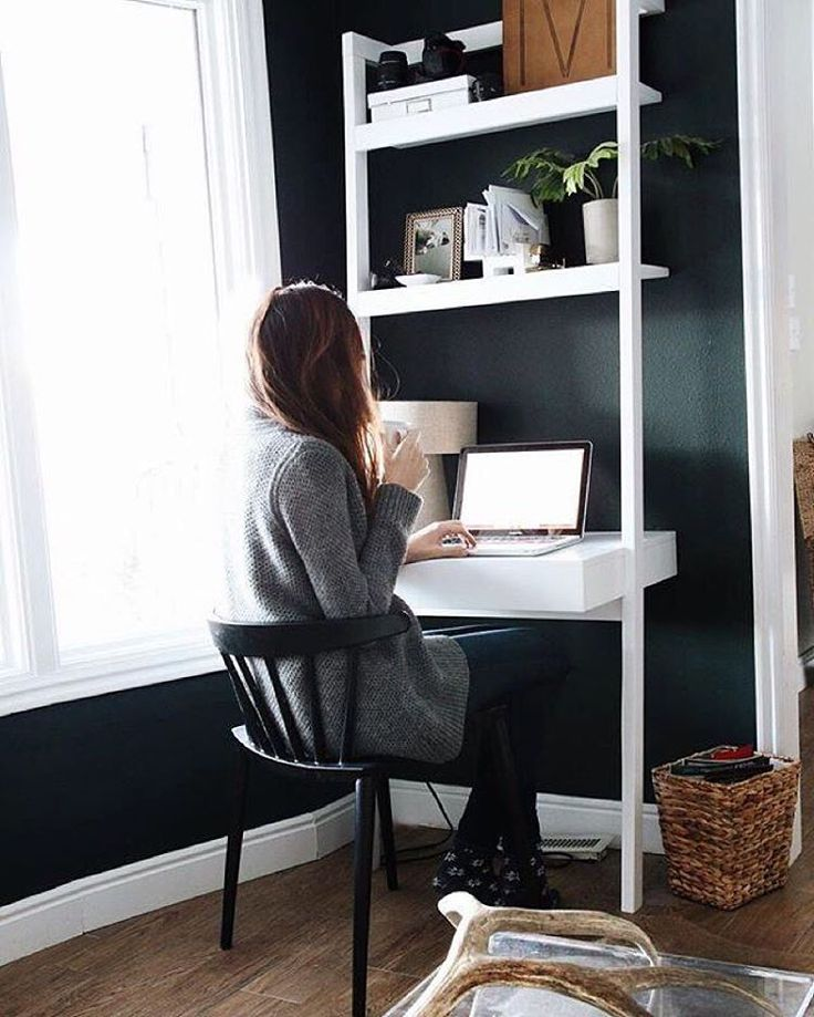 « Back to work? We love this cozy office space setup with our Sawyer White Leaning Desk. #cratestyle via @chrislovesjulia #shoplinkinbio »
