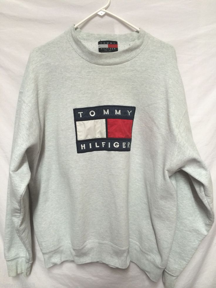 VINTAGE TOMMY HILFIGER ADULT XL LONG SLEEVE SWEATSHIRT GREY SWEATS FLAG LOGO