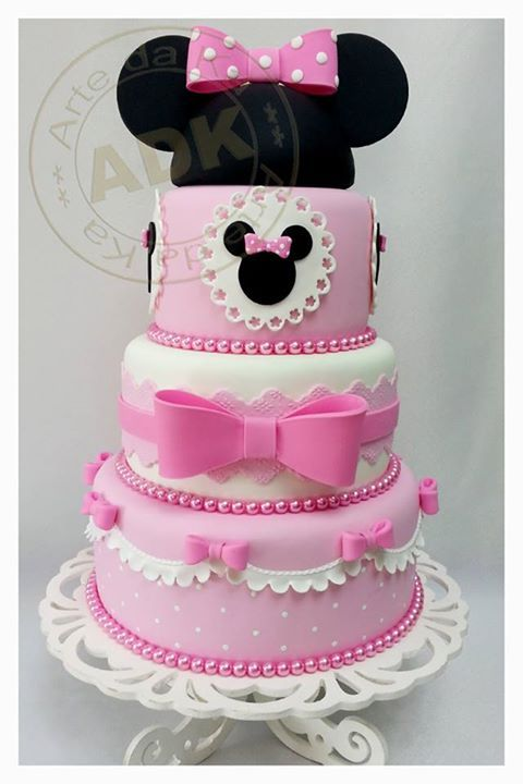 Beautiful Cake Pictures: Minnie Mouse & Pink Bows Birthday Cake - Birthday Cake, Themed Cakes -