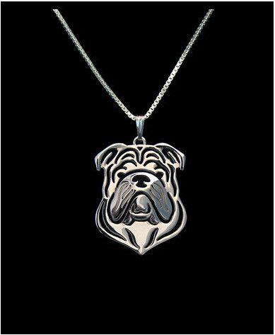 Bulldog Outline Pendant Necklace