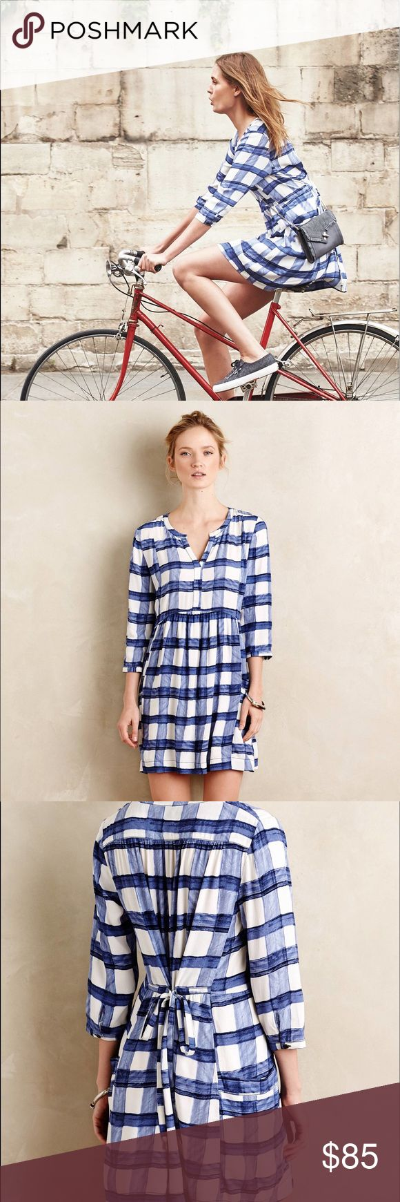 Anthropologie Maeve Blue and White Gingham Dress 'Devery Shirtdress in Blue' by Maeve. Fantastic condition, gently worn and washed once. Hangs beautifully, purchased for my mother but she just doesn't think it's her style. So fun for summer and fall! Anthropologie Dresses Long Sleeve