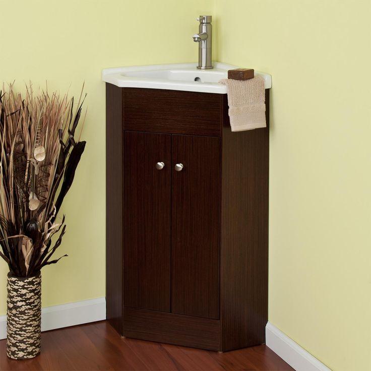 42 best corner bath images on pinterest bathroom for Corner vanity cabinet