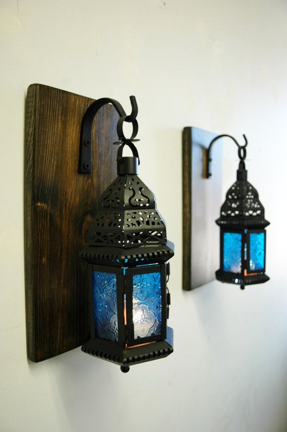 Blue glass Moroccan Lantern set (2), Moroccan decor, Modern decor, shabby chic decor, lantern candle, Wall sconce, stained pine