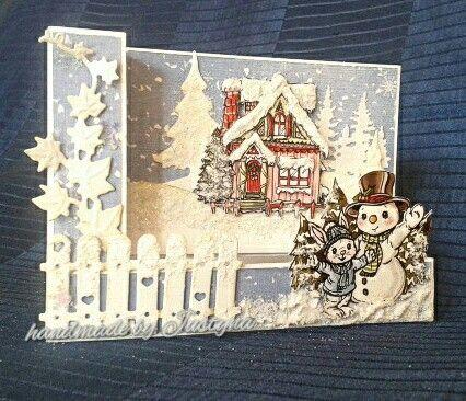 Christmas card/kerstkaart met plaatje van Yvonne Creations