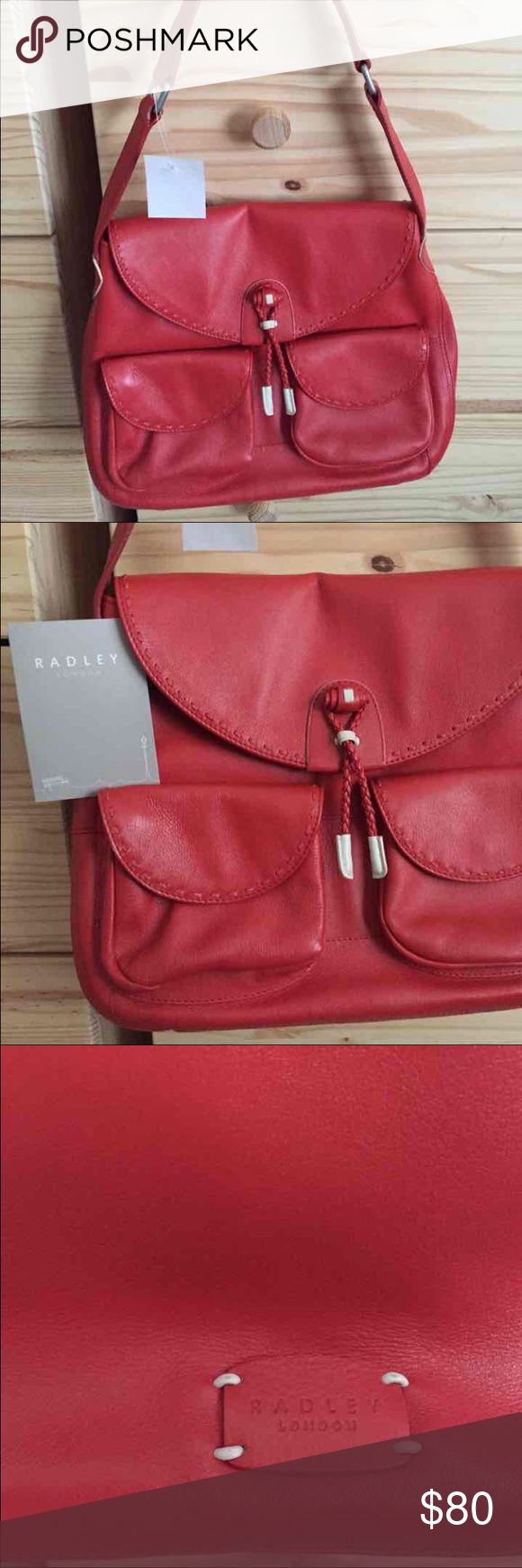 New Radley Handbag Genuine Leather Red Radley Handbag! Bought in London, never used, genuine leather Radley Bags Shoulder Bags