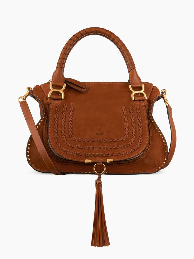Marcie bag in soft suede calfskin with braids & tassel from Chloé's festive selection