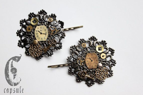 30.00$+ Steampunk Victorian Bronze Hair Pin with real Antique Watch Dial, Gears and Parts and a Golden Key  https://www.etsy.com/ca/listing/218783921