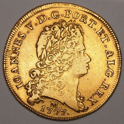 Brazilian Colonial Gold coin Dobra or 12800 Reis of Joao V, King of Portugal that was struck at the mint in Minas , 1727.