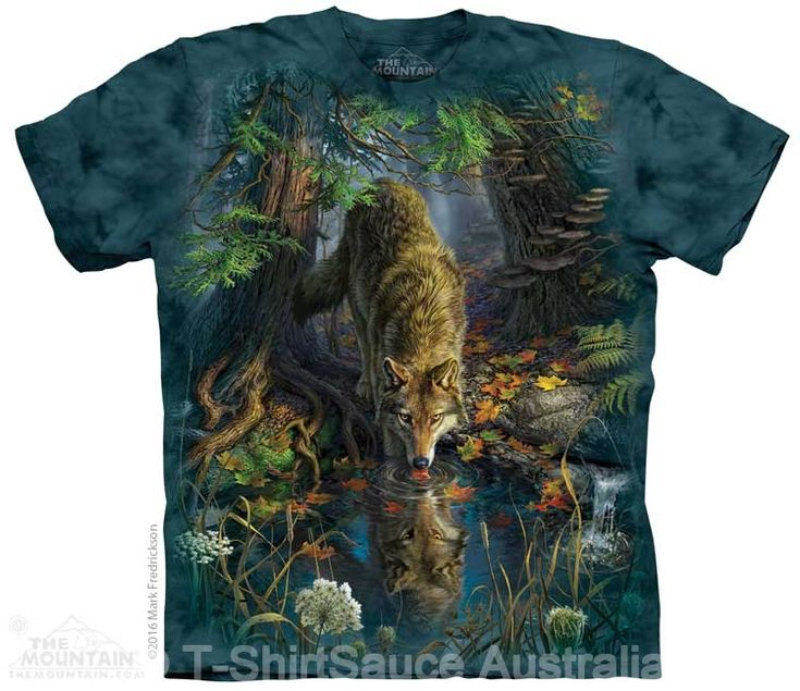 Enchanted Wolf Pool Adults T-Shirt : The Mountain - 2017 Collection : T-Shirtsauce Australia: The Mountain T-Shirts