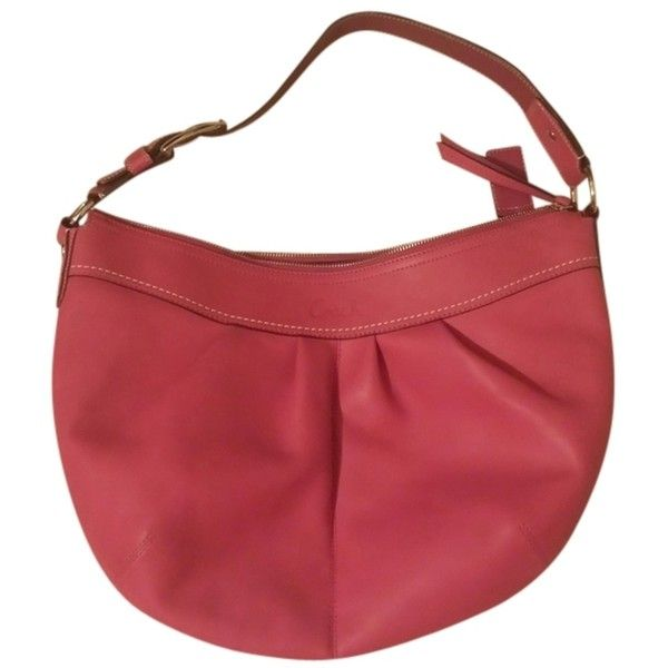 Pre-owned Coach Fun And Flirty Leather Hobo Bag ($113) ❤ liked on Polyvore featuring bags, handbags, shoulder bags, pink, leather hobo handbags, leather hobo purse, red shoulder bag, leather shoulder handbags and pink leather handbag