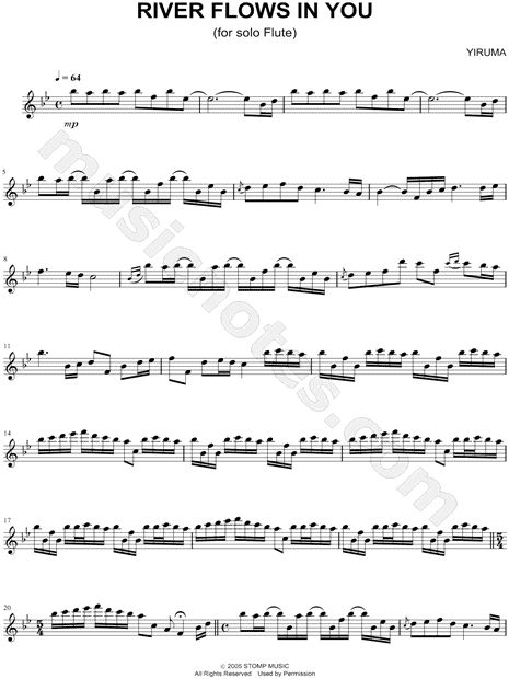 Print and download River Flows In You sheet music by Yiruma arranged for Flute. Instrumental Solo in Bb Major.