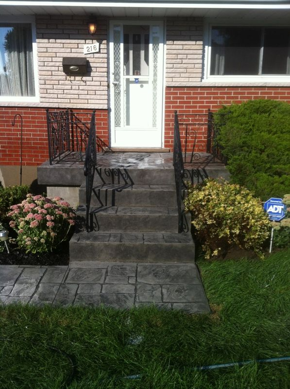 English Yorkstone Stamped Concrete Steps And Porch In