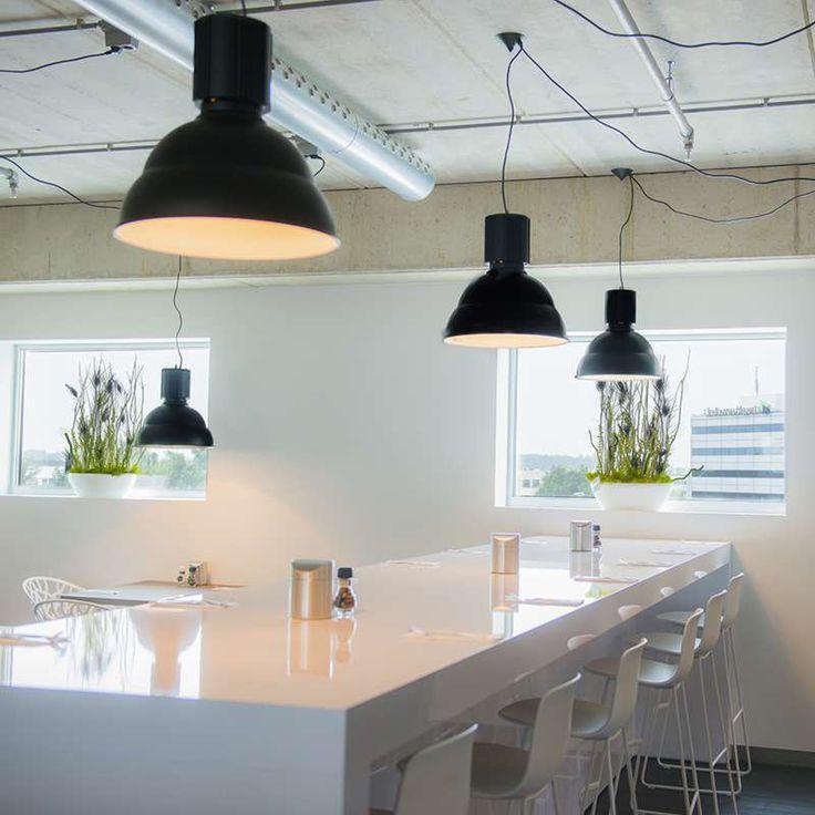 Industriele hanglamp in mat zwart. De grove opbouw refereert aan de echte industrielamp terwijl je er gewoon elke lamp in kunt doen.