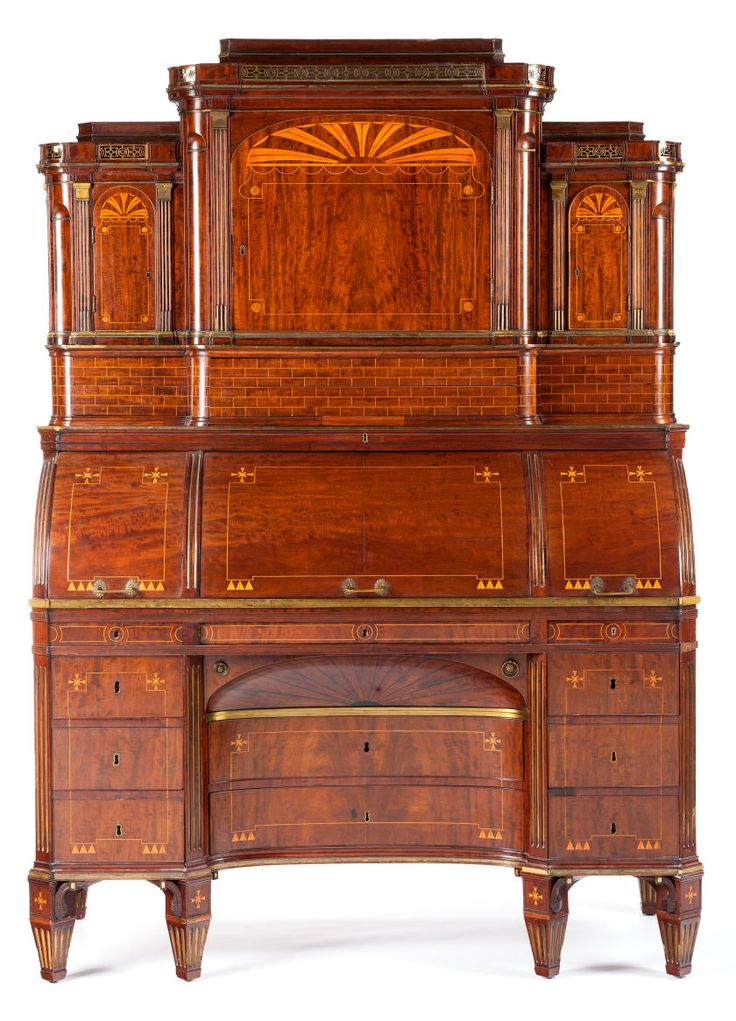 Furniture : Continental, A NORTH GERMAN EMPIRE MAHOGANY TEMPLE-FORM TRIPLE  ROLL-TOP - 2198 Best Antique Furniture Images On Pinterest Antique