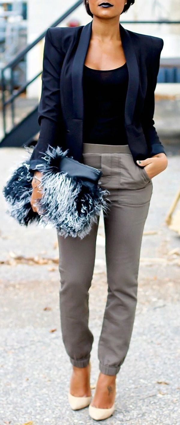 Black t shirt navy pants - 40 Ways To Wear Blazer Outfits For Work