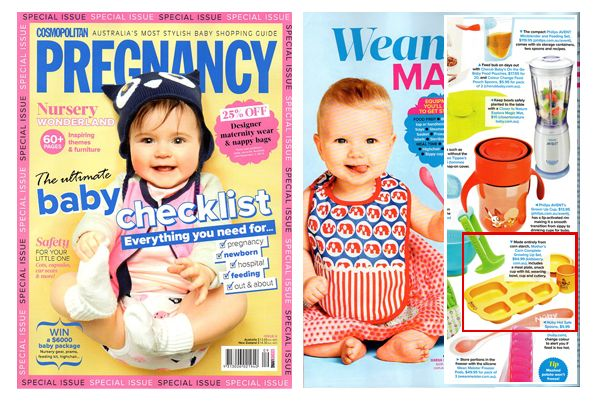 Eco-friendly, non-toxic children's tableware Mother's Corn was featured on Cosmopolitan Pregnancy Baby checklist (Special issue 4, June 2013)
