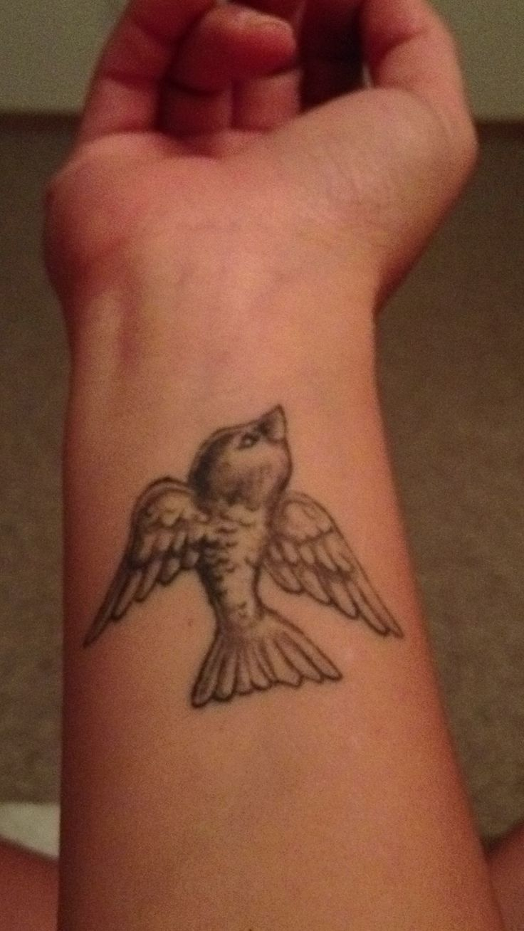 Small bird wrist tattoo