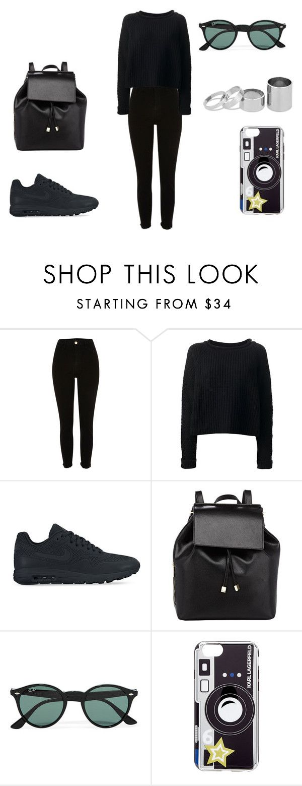 """Total Look: Black"" by claudiagir ❤ liked on Polyvore featuring River Island, Jo No Fui, NIKE, Barneys New York, Ray-Ban, Karl Lagerfeld and Betty Jackson"