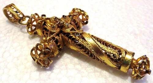 Mexico.  Antique filigreecrucifix pendant.