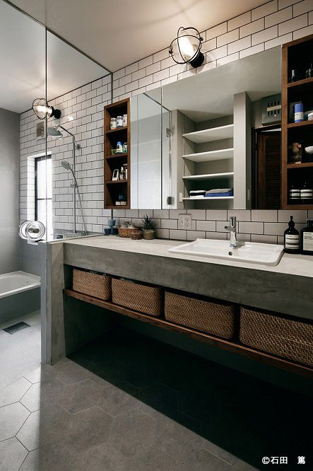 Concrete and wood bathroom. Very industrial. I love it