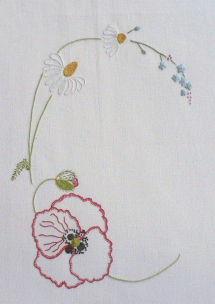 Field flowers alphabet c embroidery hand