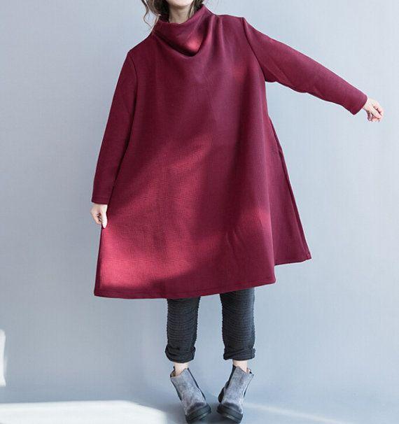 High Pile collar Oversize dress wine red large size von MaLieb