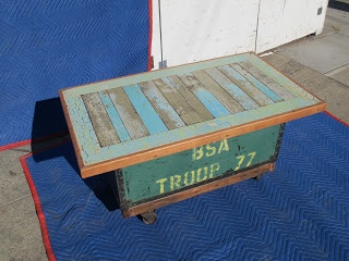 Coffee Table Is Made From Old Boy Scout Equipment Trunk As Base, Antique  Cast Iron