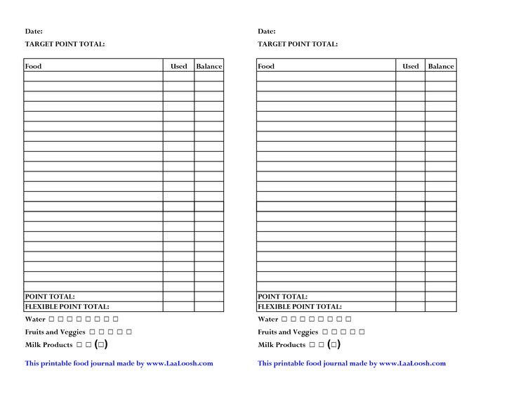 Weight Watchers Points Chart Printable | Weight Watcher Food Journal