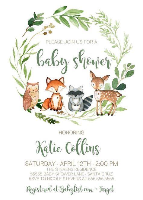Woodland Baby Shower Invitation, Boy, Gender Neutral, INSTANT DOWNLOAD, woodland animals, Editable, Digital, Woodland Theme Invites