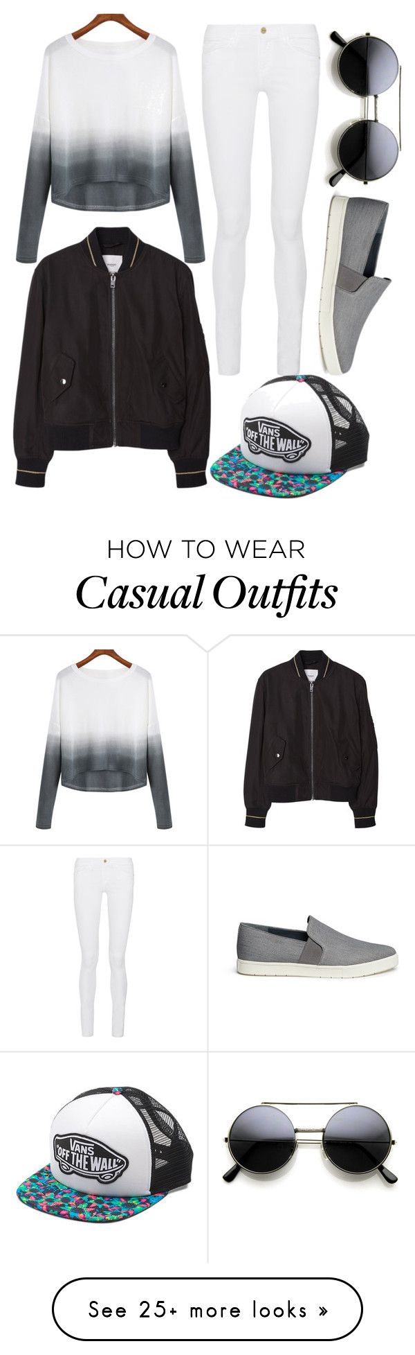 """""""casual and cool"""" by ruthjauregui on Polyvore featuring Vince, MANGO, Frame Denim, Vans, women's clothing, women's fashion, women, female, woman and misses"""