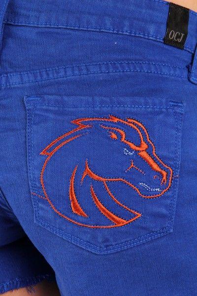 OCJ Apparel   Premium Collegiate Denim   Boise State Broncos Frayed Shorts Mascot in Blue   www.ocjapparel.com