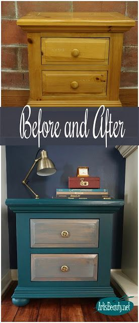 before and after outdated gold pine nightstand turned boho beauty diy general finishes milk paint eclectic bohemian home decor #eclecticdecorbohemian