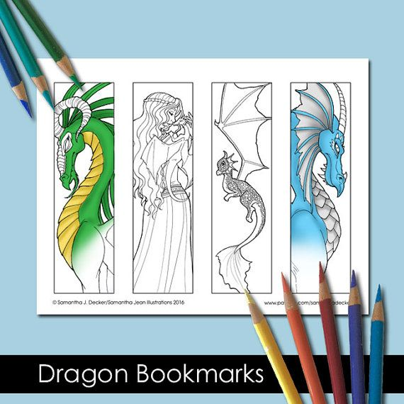 Fantasy Dragon Coloring Bookmarks For Adults