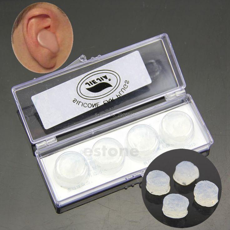 1 Box of 4pcs Swimming Silicone Earplugs Soft Comfortable Sleep Noise Reducing -B118