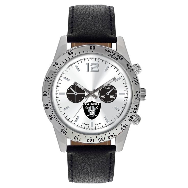 Men's Game Time NFL Letterman Sports Watch - Black - Oakland Raiders