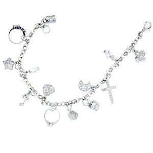 Sterling Silver Bracelet with Pave-Set Charms Better Jewelry. $94.50. Adjustable. Solid Sterling Silver. Made in Italy. Polished Finish