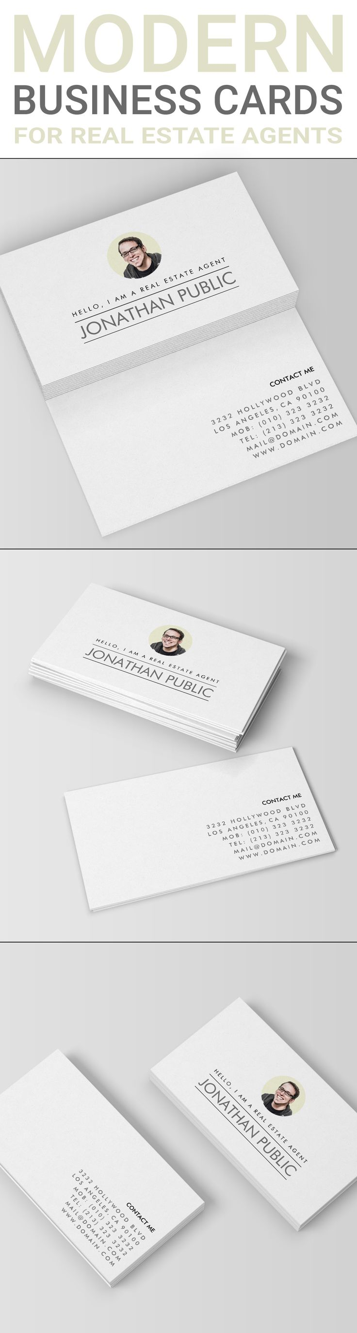 "Modern simplistic business cards design featuring your personal photograph, your name and contact details as well as in introduction line saying ""Hello, I am a"" added by your profession.  This modern business card would work great for real estate agents who would like their photo included for public recognition. The design would also work for other professions such as freelance writers, software developers or bloggers. Modern business cards by J32 Design."