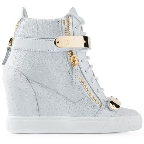 Giuseppe Zanotti Design Wedge Hi-Top Sneakers ($995) ❤ liked on Polyvore featuring shoes, sneakers, white sneakers, wedge heel sneakers, wedges shoes, leather high top sneakers and white wedge shoes