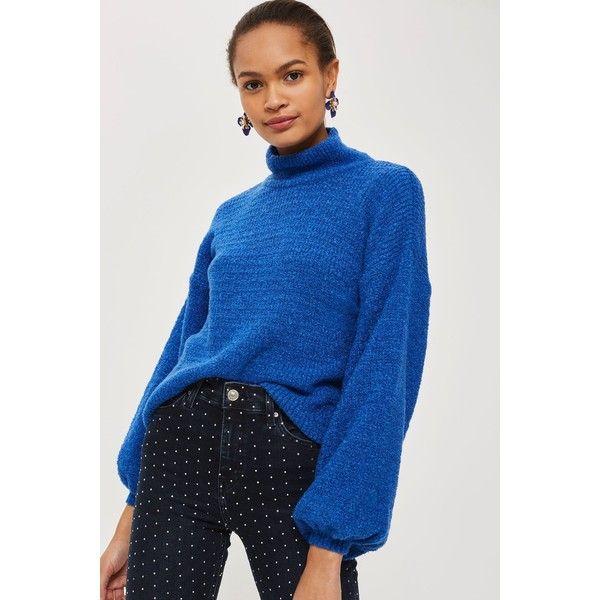 Topshop Balloon Sleeve Roll Neck Jumper ($48) ❤ liked on Polyvore featuring tops, sweaters, blue, blue jumper, loose sweaters, loose fitting tops, roll neck jumper and topshop jumpers