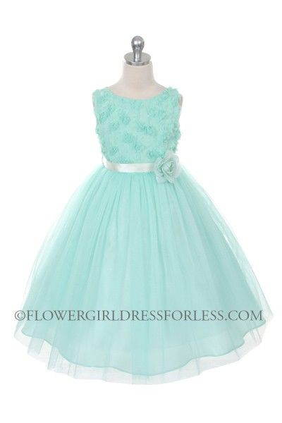Flower Girl Dress Style 278 - MINT Sleeveless Tulle Dress with Mesh Rolled Flowers $36.99