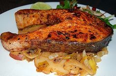 Best Baked Salmon Steaks Recipe - http://healthyrecipesideas.com/best-baked-salmon-steaks-recipe/