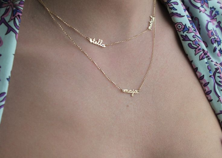 Extra Tiny Name Necklace Mother Necklace Family by capucinne, $568.00