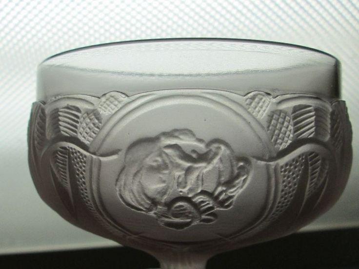FROSTED Satin Amethyst GLASS ART NOUVEAU DECO LADY Pedestal Bowl Brockwitz? #Unknown
