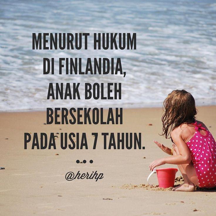 Menurut hukum di Finlandia anak boleh bersekolah pada usia 7 tahun. -  Penuhi kebutuhan bermain si kecil demi masa depannya. Penting untuk masa pertumbuhan termasuk masa pertumbuhan otaknya. -  #sekolah #pendidikan #7tahun #bermain #parenting #buahhati #masadepan #hukum #pembelajaran #otak #psikologi #perkembangan