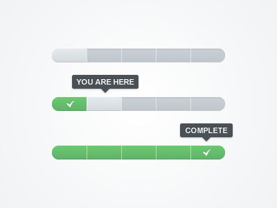 Clean progress bar that shows you where you are in the order process.
