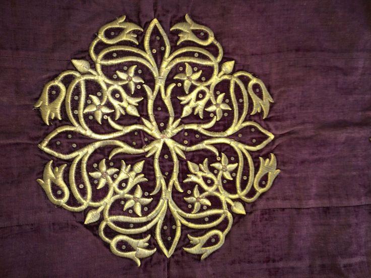ANTIQUE OTTOMAN TURKISH GOLD METALLIC HAND EMBROIDERY BOHCA No:3 6